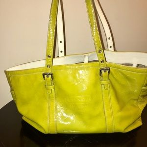 Coach Lime Green Leather Tote Bag